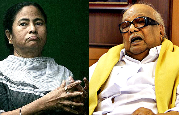 Trinamool Congress chief Mamata Banerjee (left) and DMK supremo M Karunanidhi's (right) refusal to participate in UPA's 3rd anniversary dinner has drawn flak from BJP
