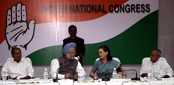 Defence Minister A K Antony, Prime Minister Manmohan Singh, Congress party chief Sonia Gandhi and Finance Minister Pranab Mukherjee