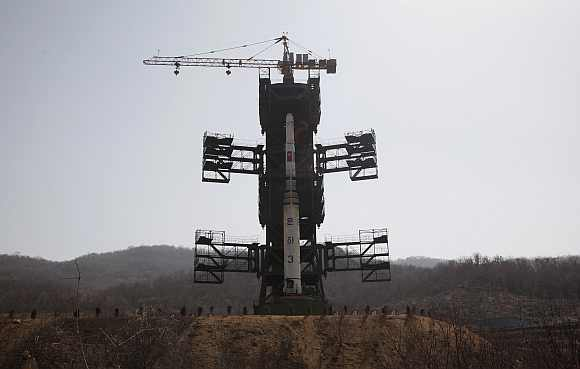 The Unha-3 (Milky Way 3) rocket is pictured on a launch pad at the West Sea Satellite Launch Site during a guided media tour by North Korean authorities in the northwest of Pyongyang